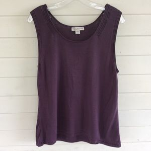 Coldwater Creek Plum Scoop Neck Sweater Shell